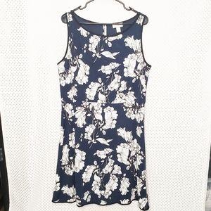 Loft navy blue & white floral fit & flare dress